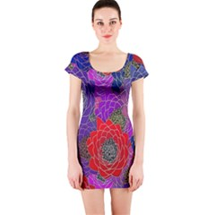 Colorful Background Of Multi Color Floral Pattern Short Sleeve Bodycon Dress