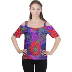 Colorful Background Of Multi Color Floral Pattern Women s Cutout Shoulder Tee