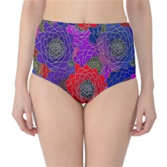 Colorful Background Of Multi Color Floral Pattern High-Waist Bikini Bottoms