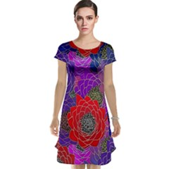 Colorful Background Of Multi Color Floral Pattern Cap Sleeve Nightdress