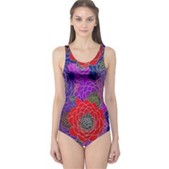 Colorful Background Of Multi Color Floral Pattern One Piece Swimsuit