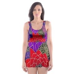 Colorful Background Of Multi Color Floral Pattern Skater Dress Swimsuit