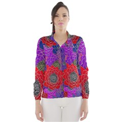 Colorful Background Of Multi Color Floral Pattern Wind Breaker (Women)