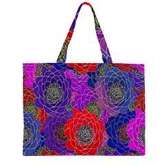 Colorful Background Of Multi Color Floral Pattern Large Tote Bag