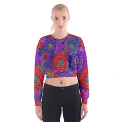Colorful Background Of Multi Color Floral Pattern Cropped Sweatshirt