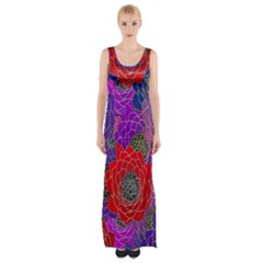 Colorful Background Of Multi Color Floral Pattern Maxi Thigh Split Dress