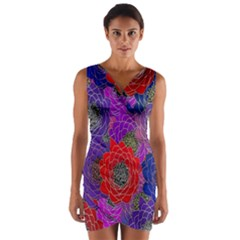 Colorful Background Of Multi Color Floral Pattern Wrap Front Bodycon Dress