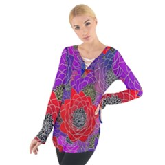 Colorful Background Of Multi Color Floral Pattern Women s Tie Up Tee