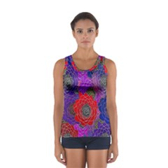 Colorful Background Of Multi Color Floral Pattern Women s Sport Tank Top