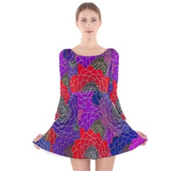 Colorful Background Of Multi Color Floral Pattern Long Sleeve Velvet Skater Dress