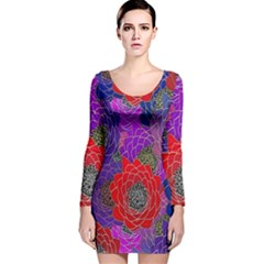 Colorful Background Of Multi Color Floral Pattern Long Sleeve Velvet Bodycon Dress