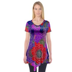 Colorful Background Of Multi Color Floral Pattern Short Sleeve Tunic