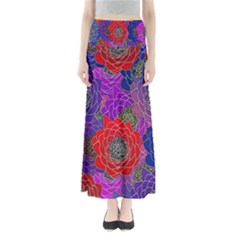 Colorful Background Of Multi Color Floral Pattern Maxi Skirts
