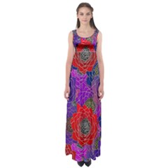 Colorful Background Of Multi Color Floral Pattern Empire Waist Maxi Dress