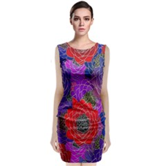 Colorful Background Of Multi Color Floral Pattern Classic Sleeveless Midi Dress