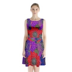 Colorful Background Of Multi Color Floral Pattern Sleeveless Chiffon Waist Tie Dress