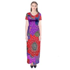 Colorful Background Of Multi Color Floral Pattern Short Sleeve Maxi Dress