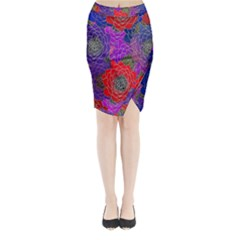 Colorful Background Of Multi Color Floral Pattern Midi Wrap Pencil Skirt