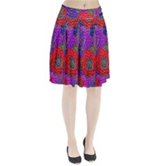 Colorful Background Of Multi Color Floral Pattern Pleated Skirt