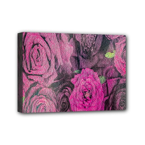 Oil Painting Flowers Background Mini Canvas 7  X 5