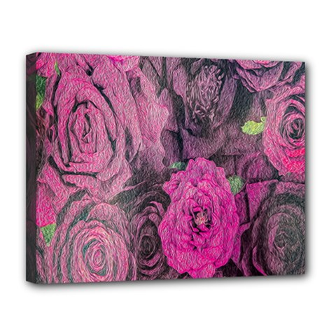 Oil Painting Flowers Background Canvas 14  x 11