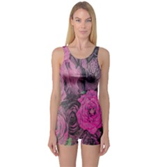 Oil Painting Flowers Background One Piece Boyleg Swimsuit