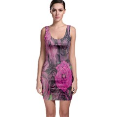 Oil Painting Flowers Background Sleeveless Bodycon Dress