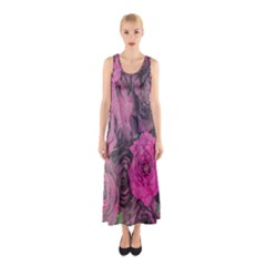 Oil Painting Flowers Background Sleeveless Maxi Dress