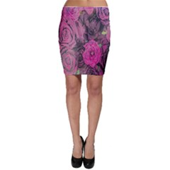 Oil Painting Flowers Background Bodycon Skirt