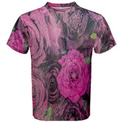 Oil Painting Flowers Background Men s Cotton Tee