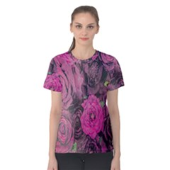 Oil Painting Flowers Background Women s Cotton Tee