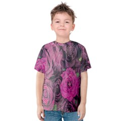 Oil Painting Flowers Background Kids  Cotton Tee