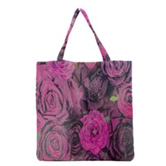 Oil Painting Flowers Background Grocery Tote Bag