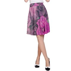 Oil Painting Flowers Background A Line Skirt