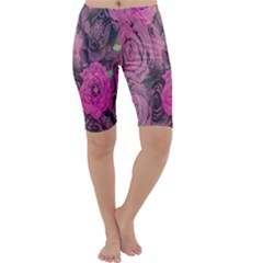 Oil Painting Flowers Background Cropped Leggings