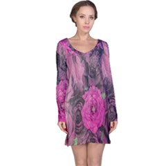 Oil Painting Flowers Background Long Sleeve Nightdress