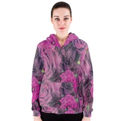 Oil Painting Flowers Background Women s Zipper Hoodie