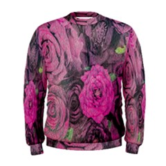 Oil Painting Flowers Background Men s Sweatshirt