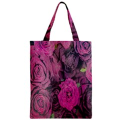 Oil Painting Flowers Background Zipper Classic Tote Bag