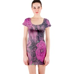 Oil Painting Flowers Background Short Sleeve Bodycon Dress