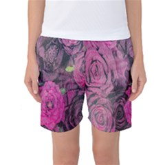Oil Painting Flowers Background Women s Basketball Shorts