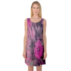 Oil Painting Flowers Background Sleeveless Satin Nightdress