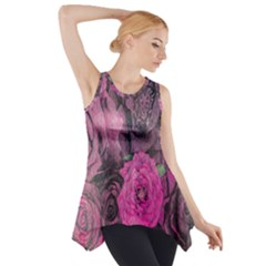 Oil Painting Flowers Background Side Drop Tank Tunic