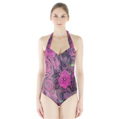 Oil Painting Flowers Background Halter Swimsuit