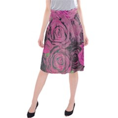 Oil Painting Flowers Background Midi Beach Skirt