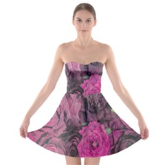 Oil Painting Flowers Background Strapless Bra Top Dress
