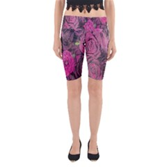 Oil Painting Flowers Background Yoga Cropped Leggings