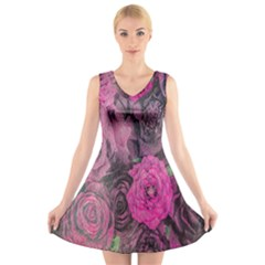Oil Painting Flowers Background V Neck Sleeveless Skater Dress