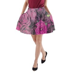 Oil Painting Flowers Background A-Line Pocket Skirt
