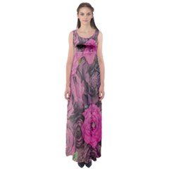 Oil Painting Flowers Background Empire Waist Maxi Dress